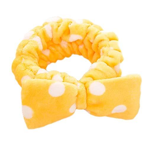 Da.Wa Bogen Krawatte Haarband Welle Punkt Plüsch Haarband Baden Beam Handtuch Make-up Haarband, Gelb