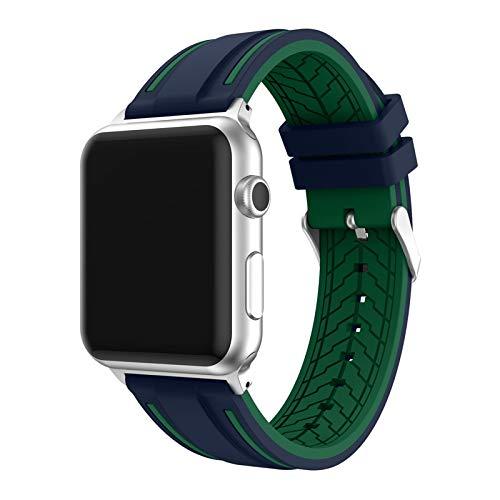 Hspcam Correa de silicona para Apple Watch Series 6, 5, 4, 3, SE, 44 mm, 40 mm, 42 mm, 38 mm, pulsera de repuesto de goma deportiva para IWatch (para 42 o 44 mm, UGr)