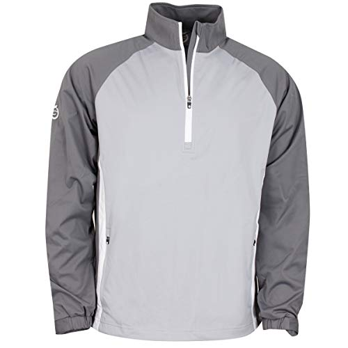 Review Sunderland Mens SUNMW37 Raglan Panelled Zip Neck Showerproof Golf Windshirt Silver/Gunmetal/W...