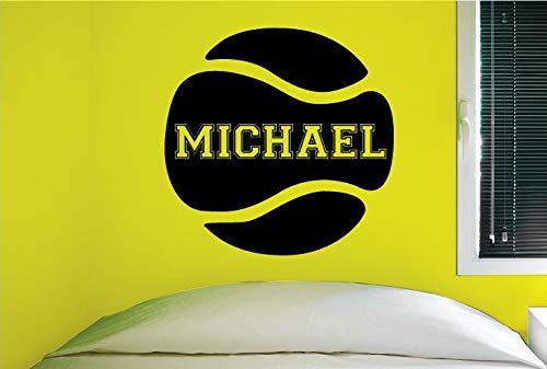 Njuxcnhg Wandaufkleber Benutzerdefinierte Tennis Wanddekor Design Personalisierte Namen Vinyl Kunst Poster Abnehmbare Dekoration Wandbild 42X42 cm