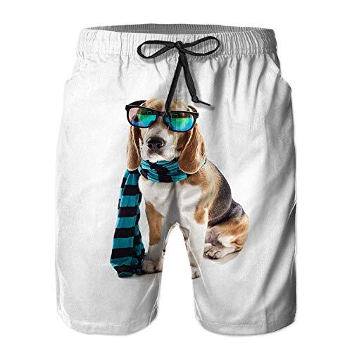 Mesk Hombres Playa Bañador Shorts,Cachorro Alegre Ropa de Abrigo Gafas,Traje de baño con Forro de Malla de Secado rápido 3XL