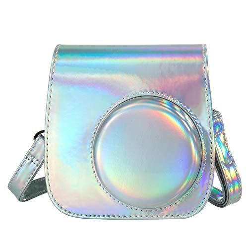 [Kamera Tasche für Fujifilm Instax Mini 8/ Mini 9] - ZWOOS Reise Kameratasche Gehäuse Taschen mit Schultergurt/Weinlese PU Leder für Fujifilm Instax Mini 8/ Mini 8S/ Mini 9 Tasche (Laser Silber)