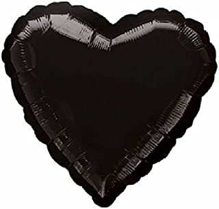 """Custom, Fun & Cool {Big Large Size 19"""" Inches - 1.5 Feet} 1 Unit of Helium & Air Inflatable Mylar Aluminum Foil Balloon w/ Geometric Rounded Love Valentine Heart Shape Design [in Festive Black]"""