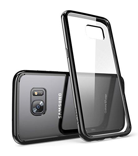 Schutzhülle für Galaxy S7 Edge [kratzfest] von i-BlasonClear [Halo-Serie], Samsung Galaxy S7 Edge Hybrid-Schutzhülle, Version 2016, durchsichtig / schwarz