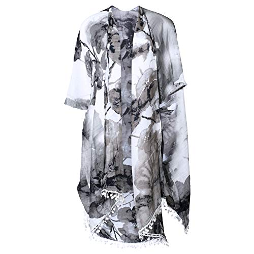 Fringed Cardigan Floral Black and White One Size Fits Most Polyester Blend Shawl