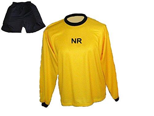 Torwart Trikot gepolstert Gelb kurze TW Hose mit Wunschname Nummer Kinder Größe 146
