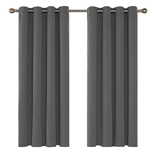 Deconovo Grey Blackout Curtains 46 x 54 Inch Eyelet Super Soft Thermal Insulated Bedroom Curtains Blackout Eyelet Curtains for Living Room Light Grey 2 Panels