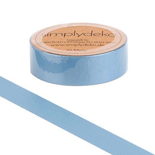 Simplydeko Washi Tape | Masking Tape | Washitape | Bastel-Klebeband aus Reispapier | Deko-Tape zum Basteln, DIY, Bullet Journal & Scrapbooking | Grau-Blau