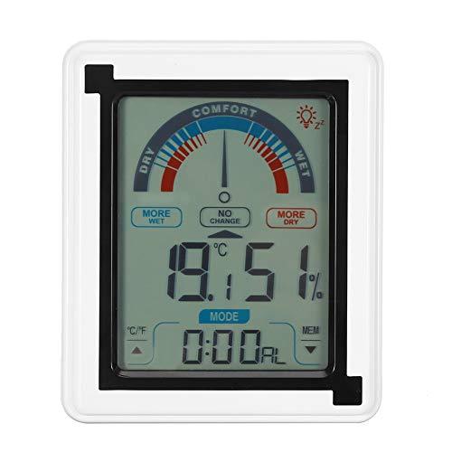 Digitale weerklok, LCD-touchscreen weerstation digitale temperatuur-vochtigheidsmeter voor thuis, slaapkamer