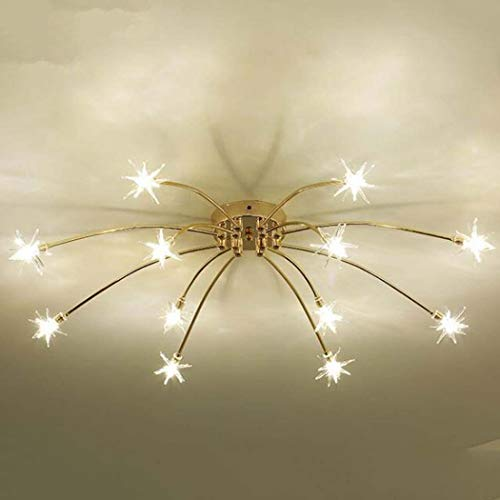 QCKDQ Moderne led-plafondlamp, plafondmontage met 12-Light, Nordic woonkamer van acryl, lampenkap, 70 cm diameter x 18 cm hoogte