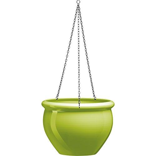 Emsa 514111 Hängeschale für Balkon, Glasurkeramik-Optik, Grün, 5,5 L