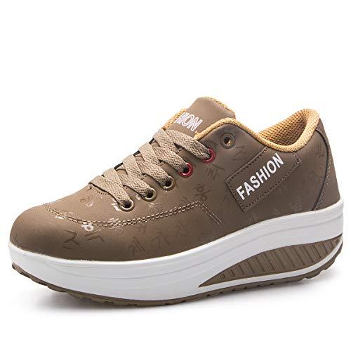 QZBAOSHU Mujer Adelgazar Zapatos Sneakers para Caminar Zapatillas Aptitud Cuña Plataforma Zapatos 38 EU 1-Caqui