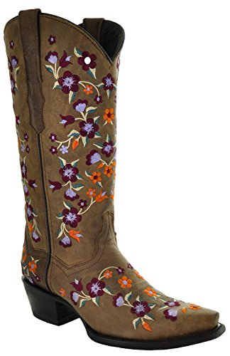 Soto Boots Floral Fantasy Cowgirl Fashion Boots M50031 (7) Tan