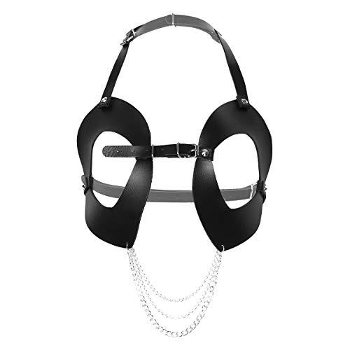 YOOJIA Damen Punk Gothic Brust Harness PU Leder Verstellbarer Körper Gürtel Cage BH Büstenhalter mit Metallkette Rollenspiel Kostüm Clubwear Schwarz B One Size