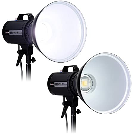 2 and Rolling Kit Case Power Supplies Softboxes Fotodiox Pro LED-100WB-56 Studio 5600K LED 3-Light Kit Includes Stands