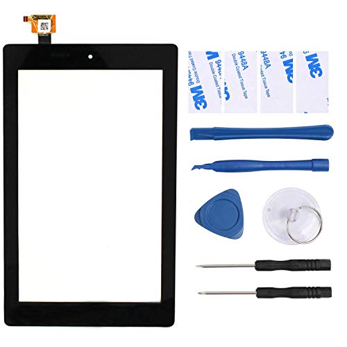 YEECHUN New Black 7' Glass Digitizer Touch Screen Replacement for Amazon Fire 7th Gen 2017 SR043KL Release (for 7th Generation 2017 Release)