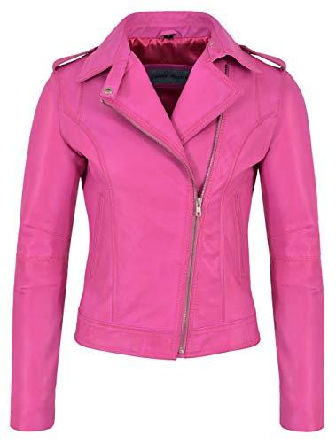 Giacca in Pelle Brando da Donna Fucsia Rosa Fashion Biker Rock Style Vera Pelle di Agnello 442 (EU 46 / UK 20)