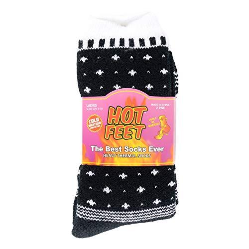 Meias térmicas femininas Hot Feet, 2 pares, pesadas – com isolamento espesso para clima frio e inverno; tamanho da meia 39 – 11, tamanho do sapato 4 – 10,5, Black/Pattern Block, Shoe Size: 4-10