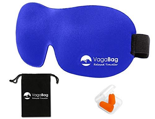 Masque de nuit occultant ; Cache yeux pour dormir Ultra-doux Avec bouchons d'oreille, pochette de transport et ebook gratuit (Bleu Marine)