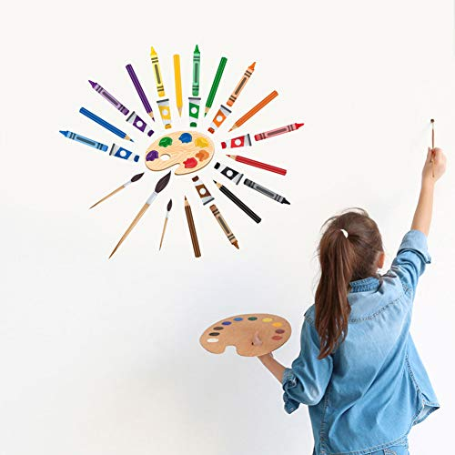 IARTTOP Colorful Art Supplies Crayon Wall Decal, Watercolor Artistic Things Crayons Pigment Pens Wall Sticker for Drawing Room Classroom Art Room Decor