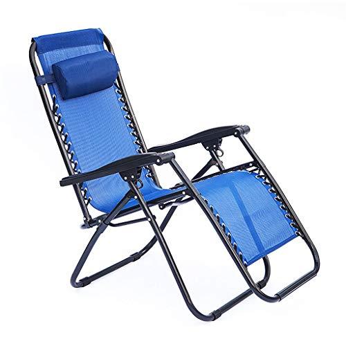 Fauteuil inclinable réglable Zero Gravity Lounge Fauteuil inclinable inclinable pour pont de relaxation - pour la pêche sur la plage, camping, jardin, balcon, portable avec appui-tête, 350lbs, bleu