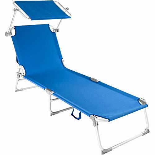 TecTake 800143 Chaise Longue Bain de Soleil en Aluminium Pliable avec Parasol Pare Soleil - diverses Couleurs au Choix - (Bleu | no. 401429)