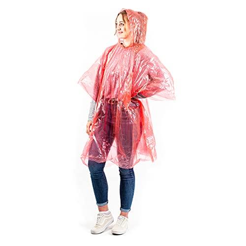 GRIP Eventbasics 10 x Einweg Regenponcho für Erwachsene (Einheitsgröße), Regencape mit Kapuze, rot, einzeln verpackt