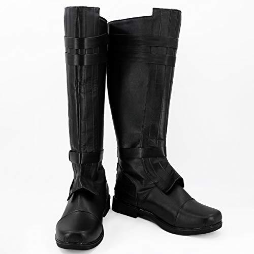 PinLian Anakin Skywalker - Botas negras para hombre, disfraz de Halloween