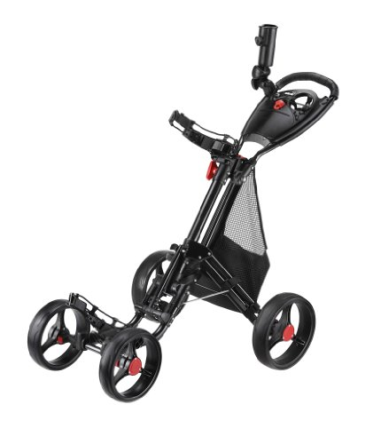 Why Should You Buy Caddytek CaddyCruiser ONE One-Click Folding 4 Wheel Golf Push Cart (Black)