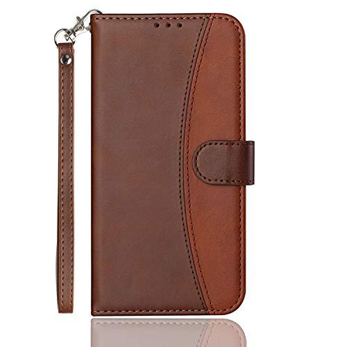 HEIGOU Schutzhülle für UMIDIGI One / UMIDIGI One Pro, Premium PU Brieftasche Schutzhülle aus Leder mit Kartenfächern & integriertem Magnetverschluss – r&es Design braun
