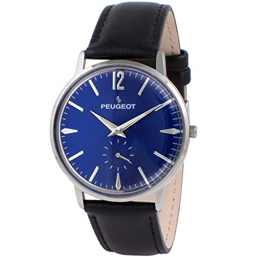 Peugeot Men's Vintage Blue Dial Retro Business Analog Watch with Remote Sweep...