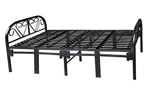 Sahni Portable furniture Single Folding Bed in Iron/Metal - Black Color Stripes, (188 cm x 91cm, Official Manufacturer)