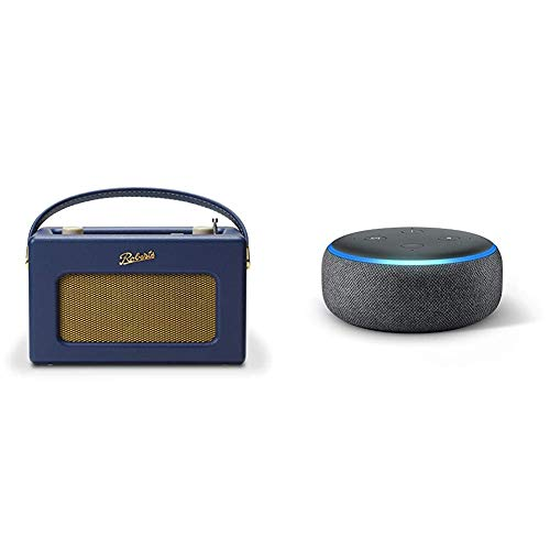 Roberts Radio REV-ISTREAM3MB Retro DAB/DAB+ FM Wireless Portable Digital Bluetooth Radio - Midnight Blue & Echo Dot (3rd Gen) - Smart speaker with Alexa - Charcoal Fabric
