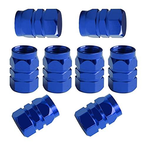8 tapas de polvo azules de las PCS, reemplazo de aluminio de las cubiertas de válvula del hexágono de los casquillos del vástago
