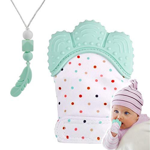 Guante mordedor bebé,bebe dentición Manoplas,Collar Lactancia,collar Hermosa Moda,Silicona flexible, SIN BPA. aliviar el dolor de encías, Masajear encías y proteger las manos. (Verde menta)