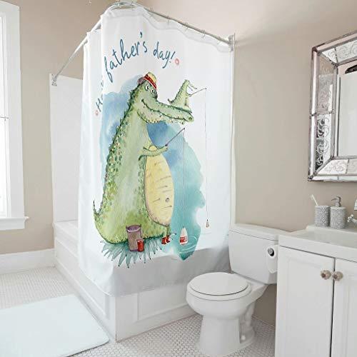 Gamoii Duschvorhang Bad Vorhänge Glückliches Vatertags Tier Krokodil 3D Digital Badezimmer Vorhang Bad Dekor Badvorhang mit Duschvorhangringen White 180x200cm