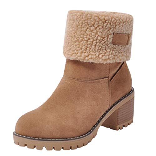 QUICKLYLY Botas de Mujer,Botines para Adulto,Zapatos Otoño/Invierno 2018,Caliente Martin Snow Botín Corto(marrón,38CN)