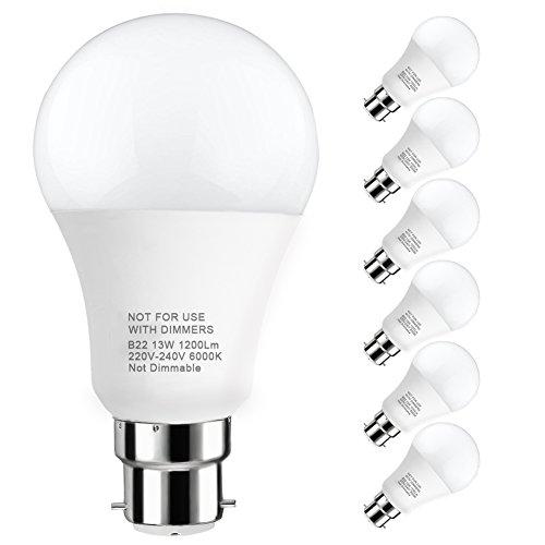 LAKES Ampoule LED Globe A60 Culot B22, 100W Équivalent Ampoule sphérique, 6000K Blanc froidK, Lot de 6