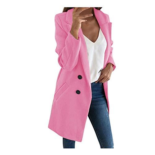 iHENGH Damen künstliche Wolle Elegante Mischungs Mantel dünne weibliche Lange Mantel Oberbekleidung Jacke(Rosa, XL)
