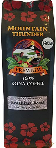 100% Kona Coffee - Premium - Ground - Breakfast Roast - 16 Ounce Bag - by Mountain Thunder Coffee Plantation