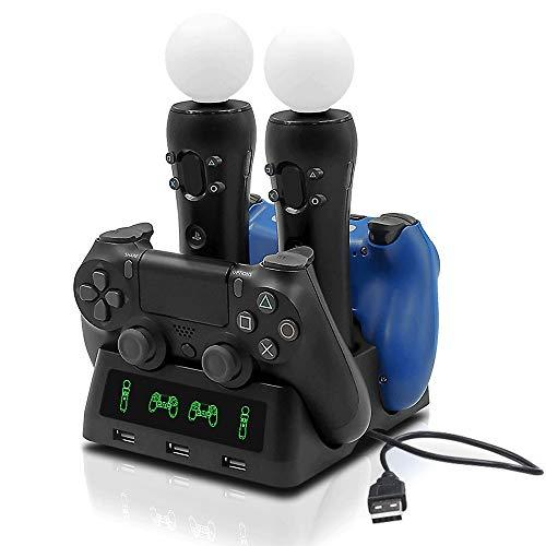 Tihokile Base de Carga para el Consola PS4, Puede Llenar la Consola PS4 y el Controlador PS4 VR, Para Play Station (4, VR, Pro, slim), Diseño de Alimentación Rápida, con Indicador Inteligente
