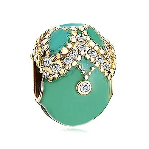 Pandora 925 Joyería De Moda De Plata Ruso Fabergé Huevo Día De Pascua Esmalte Verde Chicas De Lujo Encanto Europeo Perlas Espaciadoras Pulsera Regalo Exquisito