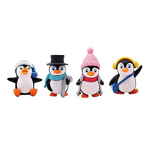 Emorias 4 x Figur Gartendeko Deko Figuren - Vier Kleine Pinguine Tischdekoration - Zuhause Dekoration Wohnaccessoires Geschenk