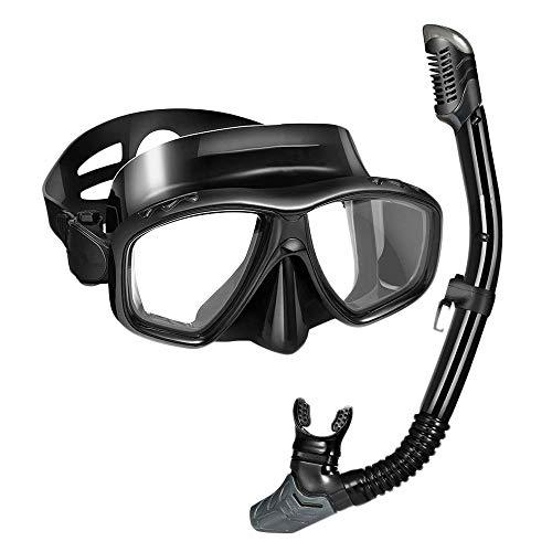 Frpower Máscara del Tubo Respirador contra La Niebla Anti Permeación De Buceo Gafas De Buceo Gafas De 180 ° Vista Panorámica Natación del Seco para Adultos Completa Conjunto del Tubo Respirador