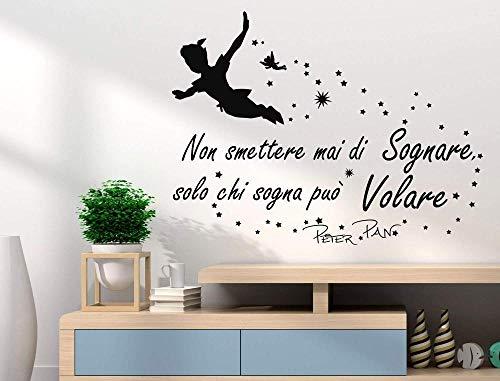 Adesivo murale Peter Pan Non smettere mai di sognare Solo chi sogna può volare frase frase decalcomania decorazione murale vinile rimovibile 60X90CM