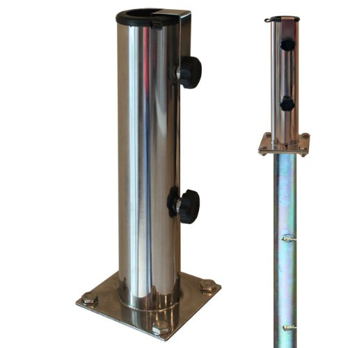 ProKIRA® Sonnenschirmständer Schirmständer Gartenschirm Bodenplatte für Bodenmontage inklusive Bodenhülse/für Schirmstöcke Ø 32-48 mm/Edelstahl