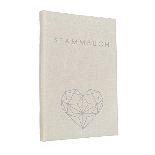 Album con albero genealogico della famiglia con copertina in lino color crema e disegno geometrico