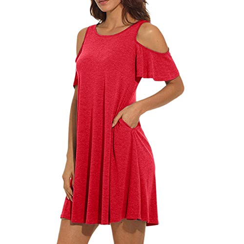 New Women\'s Summer Cold Shoulder Tunic Top Swing T-Shirt Loose Dress with Pockets Dew Shoulder Brief Solid Dress Red L