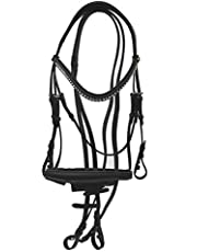 Rhinegold–Cojín anatómico caballo brida de piel italiana con Cavesson muserola