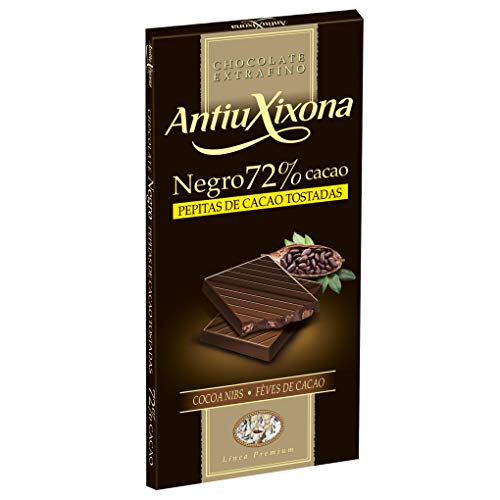 Antiu Xixona Premium - Chocolate Negro 72% Cacao con Pepitas, 100 Gramos